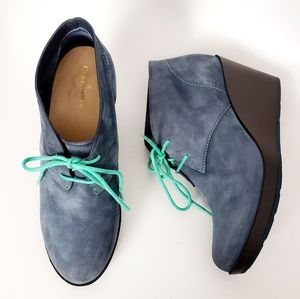 Cole Haan Blue Leather Wedge Heel Lace Up Booties